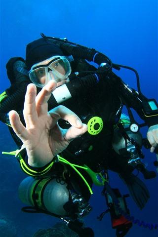 iPhone Papéis de Parede Mergulho, Homem, Subaquático, Mar