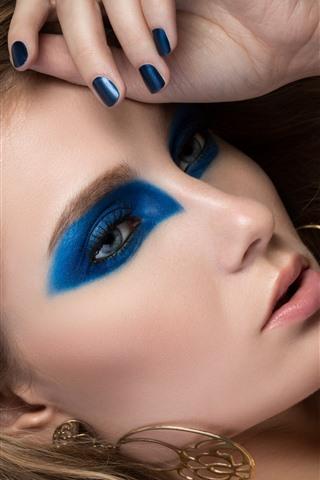 iPhone Papéis de Parede Menina, rosto, maquiagem, brinco, olha