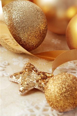 iPhone Hintergrundbilder Goldene Weihnachtsbälle, Dekoration, Band, Schneeflocke