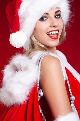 iPhone Обои Счастливая рождественская девушка, шляпа, красный фон