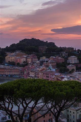 iPhone Wallpaper Italy, coast, sea, cape, houses, boats, trees, sunset