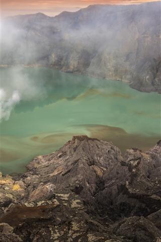 iPhone Wallpaper Lake, rocks, smoke, fog, dusk