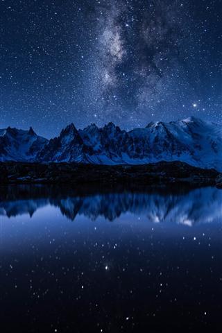iPhone Wallpaper Lake, water reflection, mountains, starry, stars, night