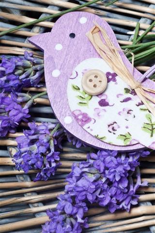 iPhone Papéis de Parede Lavanda, flores roxas, decoração de pássaros