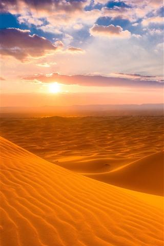 iPhone Wallpaper Morocco, desert, sunset, sky, clouds