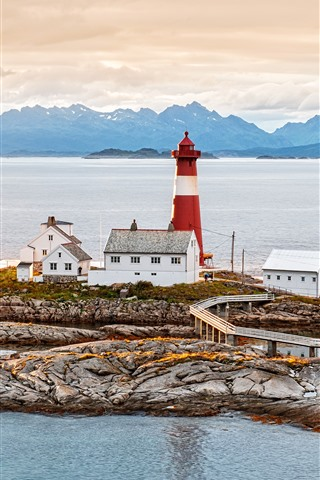 iPhone Wallpaper Norway, lighthouse, houses, sea, coast