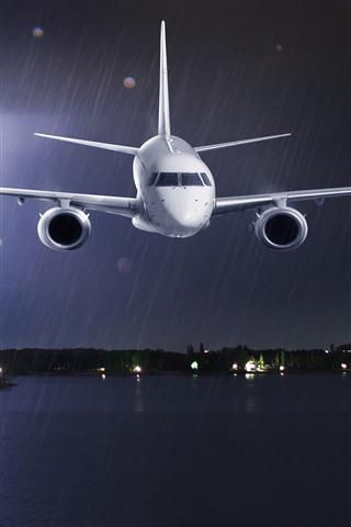 iPhone Papéis de Parede Avião, chuva, mar, relâmpago, tempestade, noite