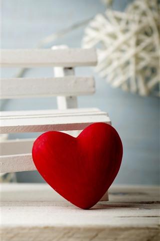 iPhone Обои Красные любовь сердца, скамейка, романтические