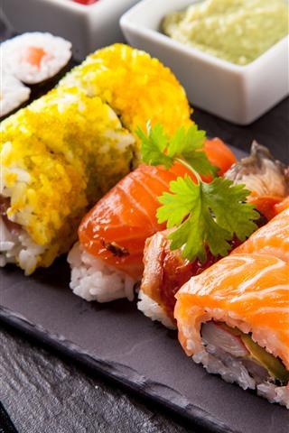 iPhone Papéis de Parede Rolos de arroz, Enchimento, Sushi, Cozinha Japonesa