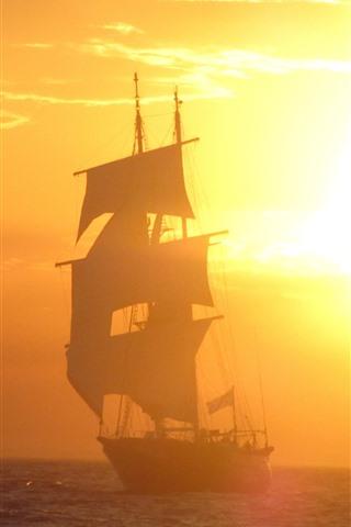iPhone Wallpaper Sailboat, sunrise, fog, sea