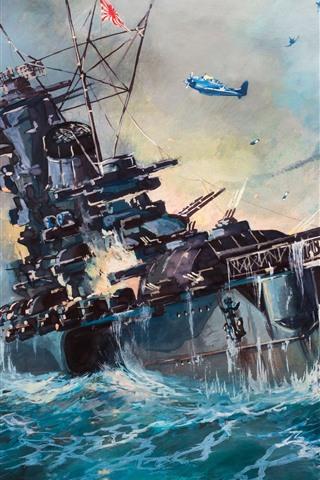 iPhone Wallpaper Sea, ship, WW2, art painting