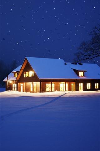 iPhone Hintergrundbilder Schnee, Haus, Lichter, Sterne, Nacht, Bäume, Winter, Weihnachten