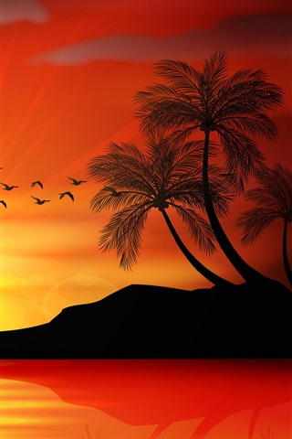 iPhone Wallpaper Sunset, palm trees, island, sea, sunset, silhouette, vector