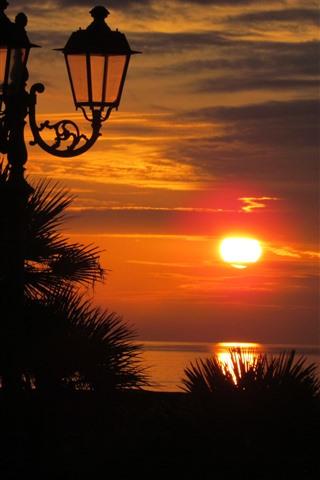 iPhone Wallpaper Sunset, sea, lights, silhouette