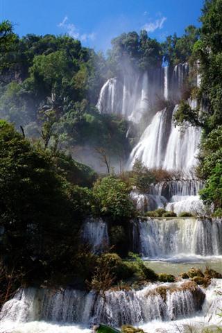 iPhone Wallpaper Waterfall, Thailand, trees, fog