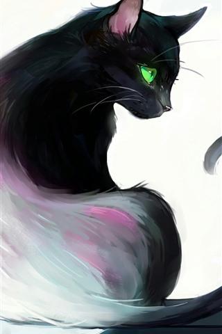 iPhone Papéis de Parede Pintura artística, gato preto, olhar para trás, olhos verdes, livro