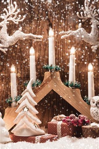 iPhone Обои Рождество, свечи, снег, снежинка, олень, сова, игрушка, украшение