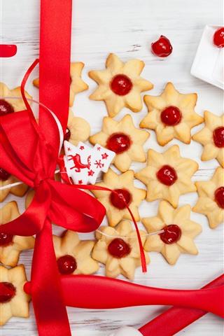 iPhone Обои Рождественская тема, печенье, красная лента