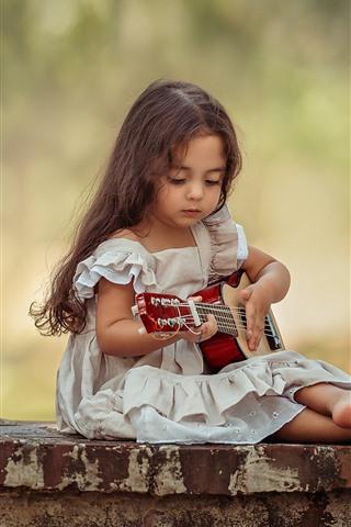 iPhone Papéis de Parede Menina, guitarra, criança