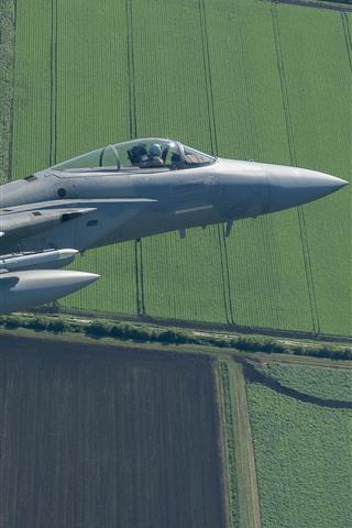 iPhone Papéis de Parede F-15C Eagle Fighter, Vôo, Céu, Campos