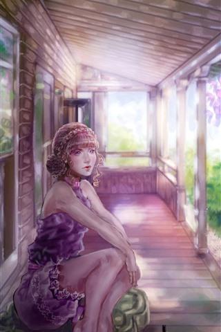 iPhone Обои Фантазия девушка, розовые цветы, дом, вид, искусство изображения