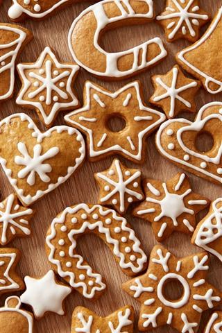 iPhone Обои Многие рождественские печенья, любовное сердце, снежинка, колокол