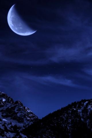 iPhone Wallpaper Moon, mountains, snow, night, sky, stars