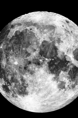 iPhone Обои Луна, поверхность, пространство, черный фон