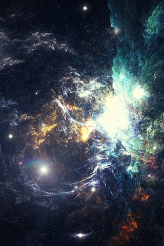 iPhone Wallpaper Nebula, space, galaxy, stars, bright
