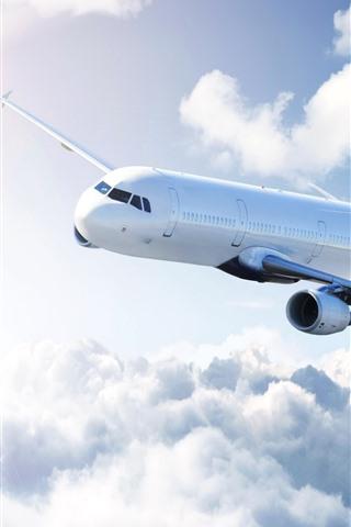 iPhone Papéis de Parede Avião de passageiros, céu, nuvens, sol