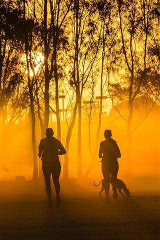 iPhone Wallpaper People running, trees, dog, fog, sun rays, morning