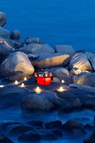 iPhone Wallpaper Stones, sea, coast, table, candle, dinner, romantic