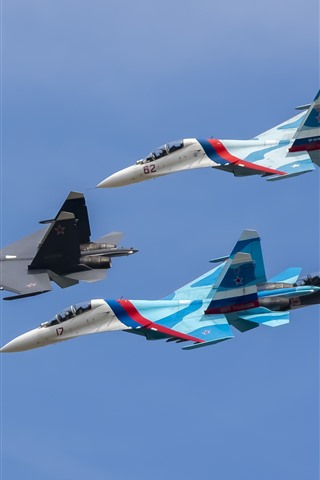 iPhone Wallpaper Su-27 fighters, four aircraft, flight, sky