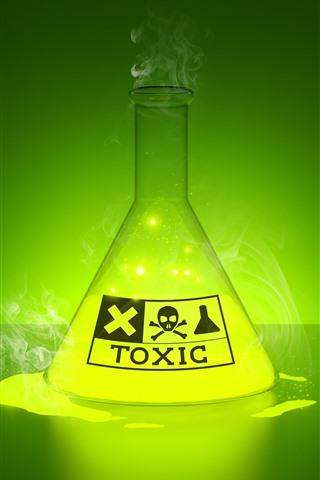 iPhone Обои Токсичная жидкость, свечение, зеленая, творческая картина