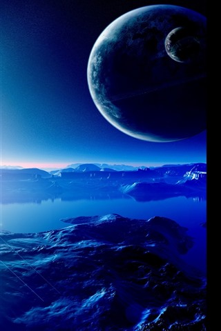 iPhone Wallpaper Beautiful space, planets, stars, water, lake, creative design picture