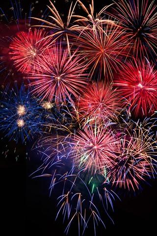 iPhone Papéis de Parede Fogos de artifício, noite bonita, colorido