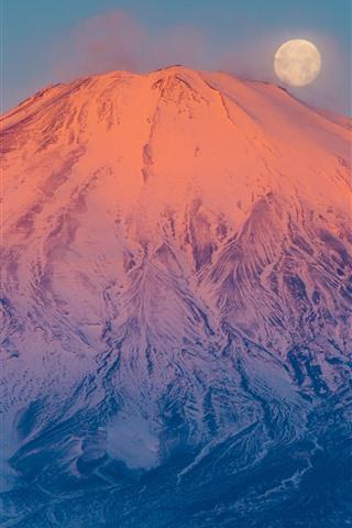 iPhone Wallpaper Fuji Mount, volcano, snow, moon, Japan