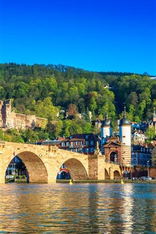 iPhone Wallpaper Germany, Heidelberg, river, bridge, city, houses