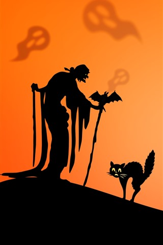 iPhone Обои Счастливый Хэллоуин, кот, ведьма, череп, силуэт