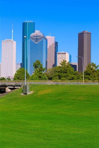 iPhone Wallpaper Houston, skyscrapers, meadow, bridge, city, USA