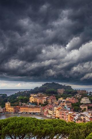 iPhone Wallpaper Italy, Liguria, trees, sea, city, coast, thick clouds
