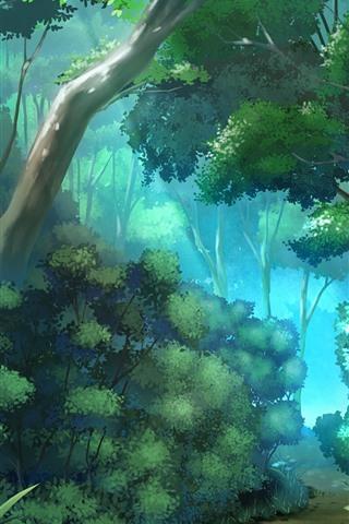 iPhone Hintergrundbilder Dschungel, Bäume, Pfad, Vektordesign