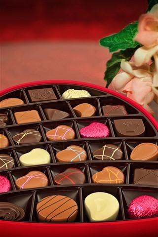 iPhone Обои Любовь сердце, шоколадные конфеты, подарок, романтик, цветы