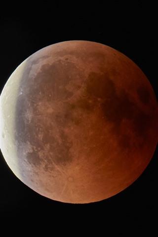 iPhone Обои Луна крупным планом, ночь, черный фон