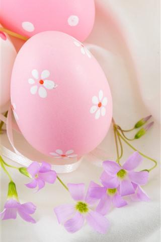 iPhone Papéis de Parede Ovos de Páscoa rosa e flores, decoração