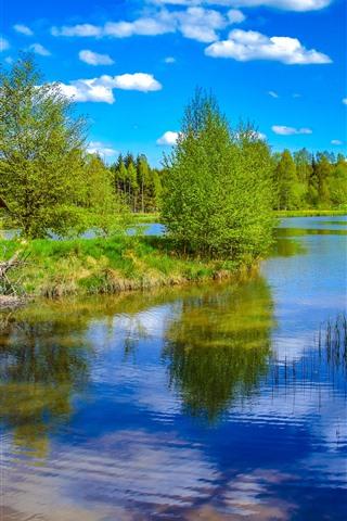 iPhone Wallpaper River, trees, gazebo, bridge, blue sky, summer