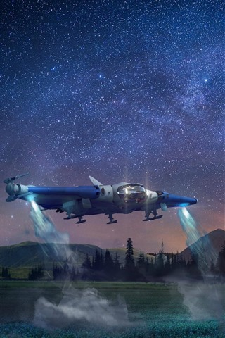 iPhone Обои Космический корабль, звезды, деревья, горы, ночь, творческая картина