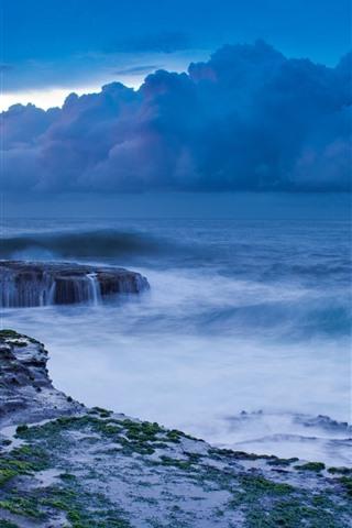 iPhone Wallpaper Storm, sea, clouds, coast