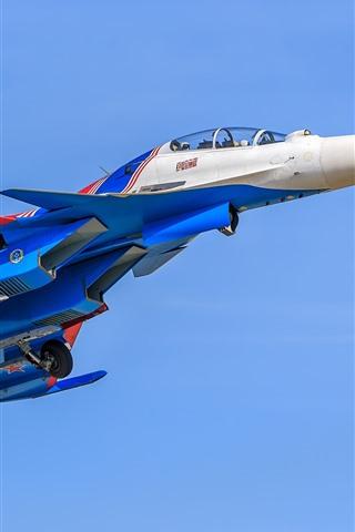 iPhone Обои Су-30 многорелый боец, синий, небо