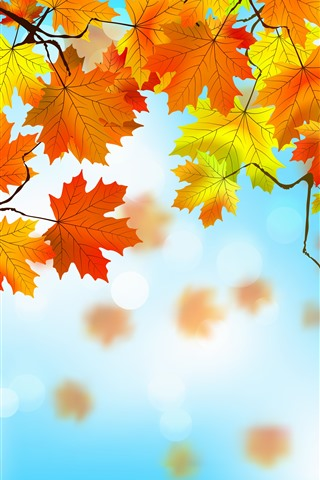 iPhone Wallpaper Vector design, yellow and red maple leaves, autumn